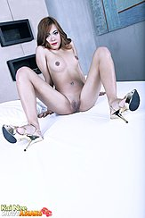 Seated Naked On Bed Legs Spread Wide Shaved Pussy Knees Raised High Heels Small Tits