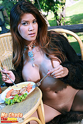 Eating Lunch At Table Long Hair Wearing Necklace Big Breasts Legs Open Showing Pussy