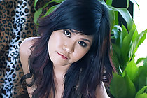 Nana Lee strips on leopard print rug and plays with vibrator