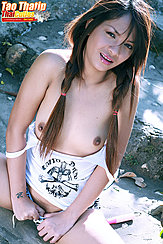 Pulling Shorts Down Small Breasts Hair In Pigtails