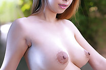Super busty Fone strips dress and masturbates with vibrator