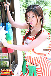 Cleaning Window Hair In Pigtails Wearing Apron
