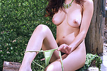 Breasty Beauty Natt Chanapa Stripping Lingerie Outdoors