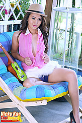 Opening Pink Shirt Flashing Panties Wearing High Heels