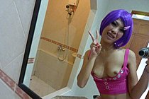 Purple Haired Annlee Stripping And Taking Self Shot Pictures