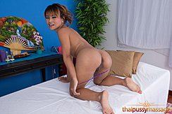 Sandy On All Fours On Massage Table Pulling Panties Down Bare Feet
