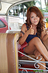 Giving Thumbs Up In Tuk Tuk