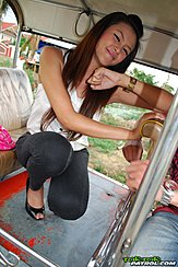 Hannah Lee Squatting On Back Of Tuktuk