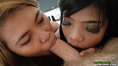 Girls Sharing Cock Performing Oral Sex