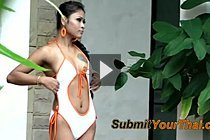 Breasty Thai Babe Jenny Strips Swimsuit By Pool