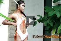 Breasty LBFM Jenny stripping swimsuit beside swimming pool